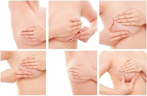 Обследуйте каждый участок молочной железы